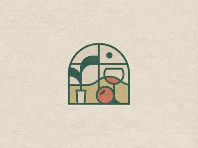 Hotel & restaurant symbol plant branding sign icon stained glass mark logo view restaurant mountain hotel fruits food garden wine nature geometry window