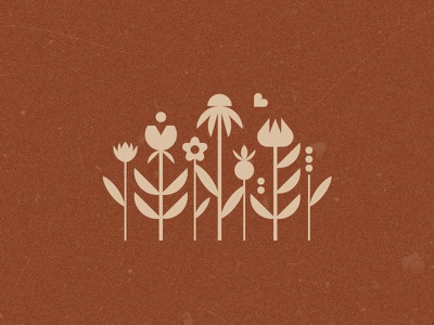 Meadow vector symbol leaves plants geometric flat sign meadow icon mark illustration nature logo flowers