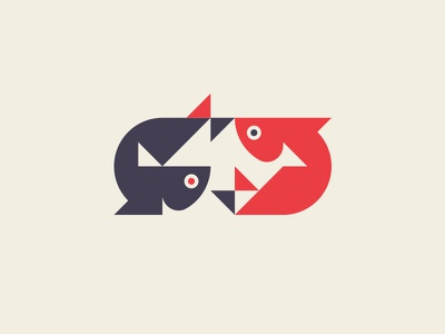 Two fish branding vector icon mark modern fishing geometric animals nature symbol sign logo fish