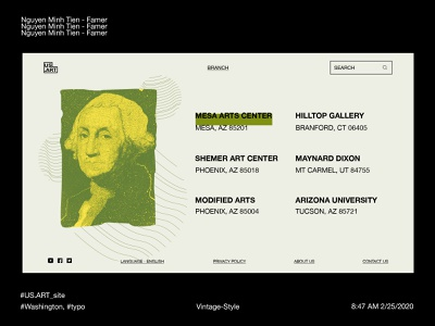 US.ART - Museum in Web (Offices page) usa america art helvetica yellow green vintage ui address museum washington