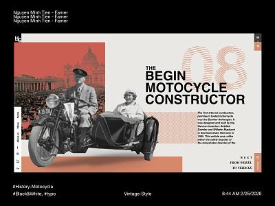 Vintage Style - History of Motocycle (Index page) rectangles blackandwhite pattern history motorcycle orange vintage