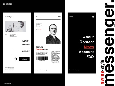messenger. - UI Design typogaphy classic 60 30 10 application design ui vintage black and white