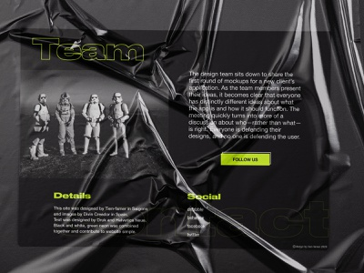 Footer - <p>Landing page</p> plastic mockup ui footer team typogaphy black and white