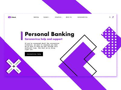 X!Bank - Memphis Style inspiration home page 3 colors memphis style purple ui