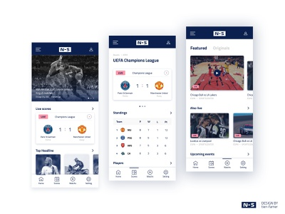 """""""N-S"""" Application color basketball streaming layout text scoreboard modern sports news"""