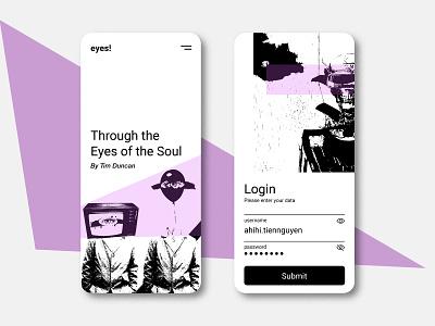 Light Mode - Premium Login mobile ui ui login page art skull purple eyes black and white