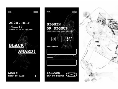 Black award - Crazy layout crazy adobe xd courier mobile ui black and white