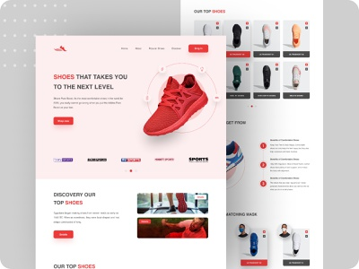 Shoes Landing Page Design figma template figma ui product landing page shoes websites ecommerce website ecommerce business ecommerce app ecommerce design shopify shopify theme clean design branded website homepage design website design web ux ui web design psd template homepage