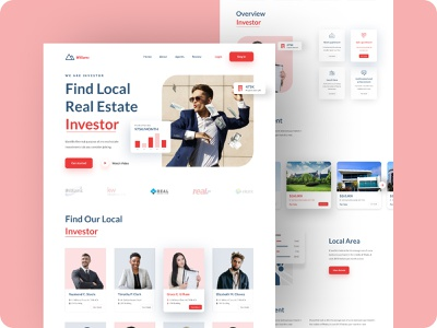 Real Estate Investors Agent business man website business man website landing page website design clean design figma template real estate website real estate real estate agent ux ui web design homepage