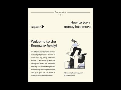 Empower's Welcome Letter package letter welcome debit card card identity design print gradient exploration brand print design finance finance app fintech branding startup