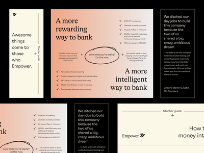 Empower's Welcome Letter package letter welcome debit card card identity design print gradient exploration brand print design finance finance app fintech branding startup