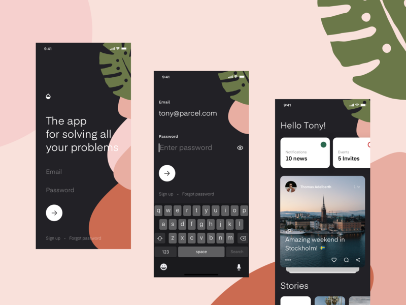 Mason - App templates pt.2 pattern app log in feed sign up iphone x dashboard social media ios ui ux