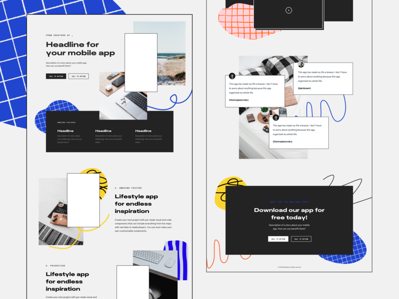 Bits & Pieces - One Page templates pt.3 patterns ui website typography marketing landing page pattern one page one page site iphonex landing app