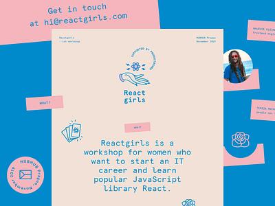 Reactgirls website brand branding identity logo react presentation code girl react girl