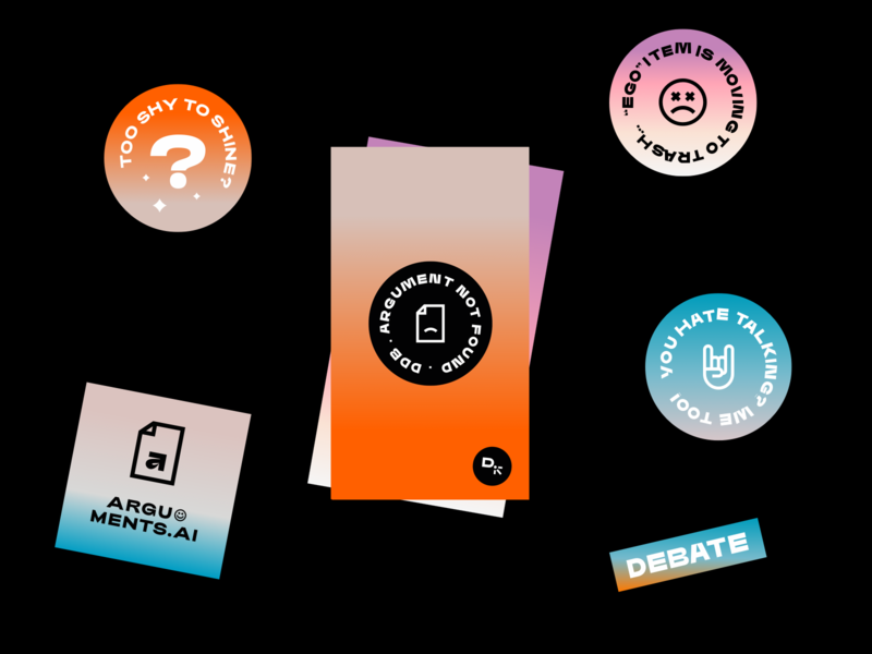 Design Debate Club club typeface debate stickers gradient behance case study exploration branding typography