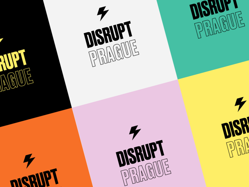 DisruptHR Prague Conference brand identity festival speaking hr colorscheme colors brand conference redesign exploration druk typography logo
