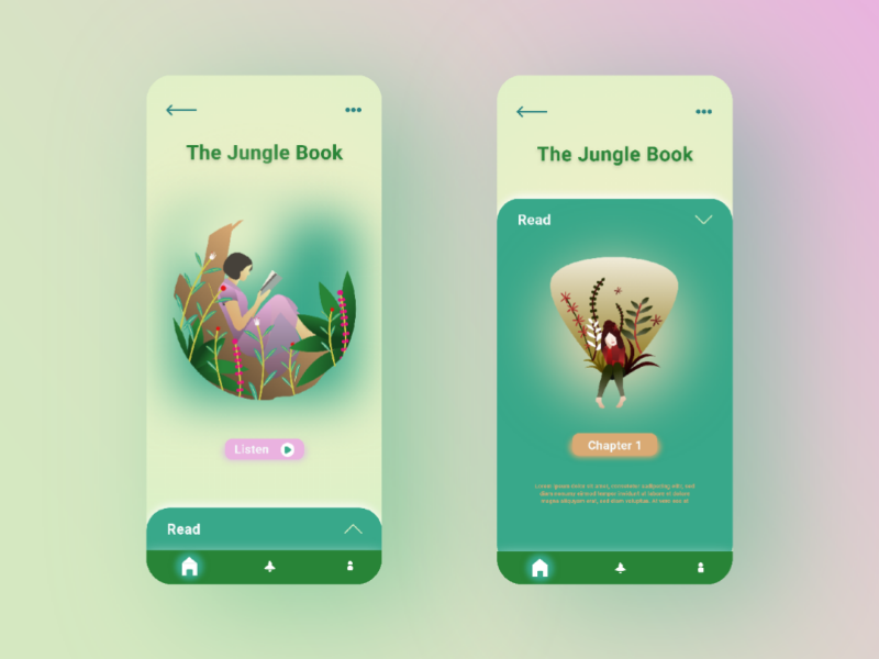 Audiobooks App flatdesign clean indonesia reading custom application audiobooks audiobook pink green ux dailyui jungle read girl ui app book books