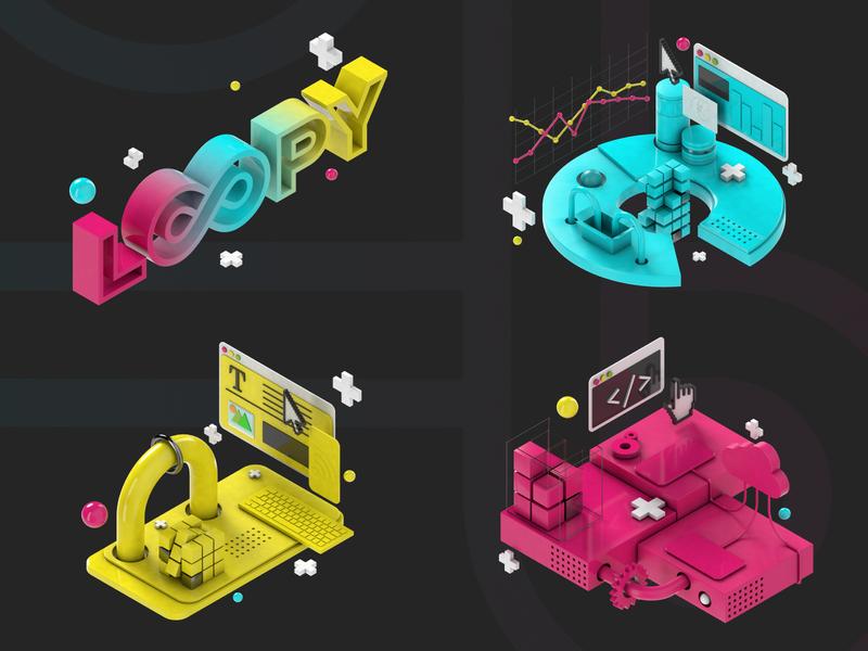 Loopy Website Illustrations 3d web design illustration ui branding