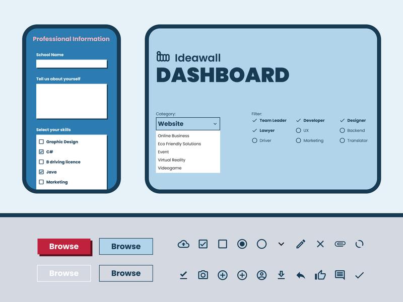 Ideawall - School Project Management Website minimal flat icon logo website app web ux ui design
