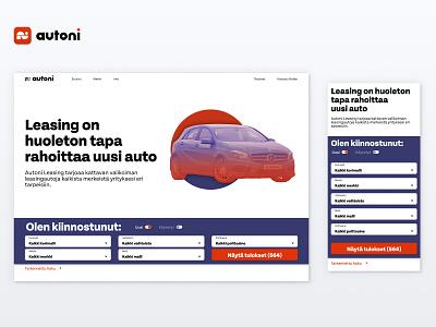 Car Leasing Website Design landing page landing leasing auto car illustration website web ux design ui