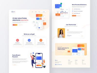 Q-Pay Landing Page branding agency typography bold color colorful webdesign wallet landing page wallet ui design slideshow trend ui landingpage minimalist creative design inspiration uidesign