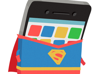 iPhone 4S cute illustration character design iphone superman vector apps cape super