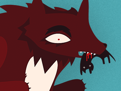 Wolf Eats Cat cat blood furry illustration character design monster wolf