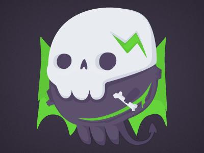 Death Planet illustration character design purple death planet bones green