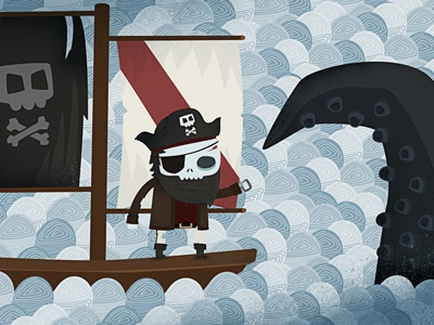 Dead Pirate vs Kraken character design illustration vector skull pirate dead kraken sea boat