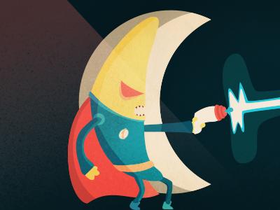 Captain Banana character design illustration vector banana space gun laser ray moon shooting firing texture