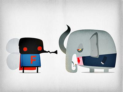 The Fly & Bureaucratic Elephant character design illustration vector textures superhero fly elephant wings smoking smoke cigarette suit cape tie