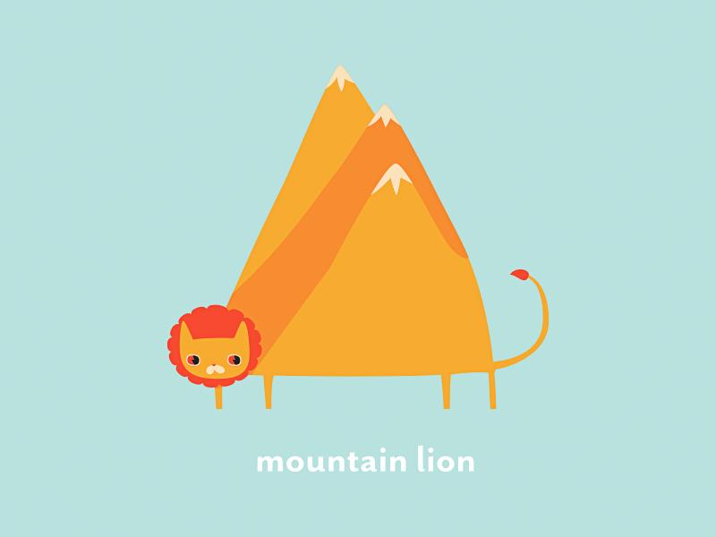 Mountain Lion character design illustration vector lion mountains
