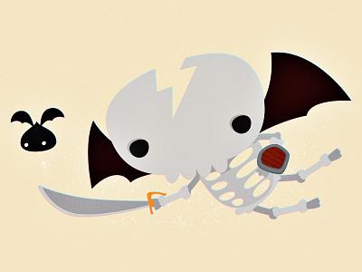 Flying Skull character design illustration vector skull wings fly sword shield board