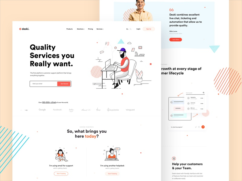 Customer Support Portal illustraion creative deksi landingpage saas landing page saas design saas webdesig website proffesional clean minimal ticket customer support customer service customer experience customer