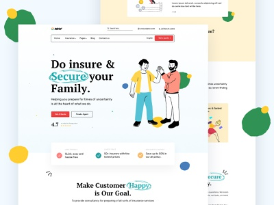 Insurance company page concept minimal creative portfolio car insurance heath life insurance insurance marketing illustration corporate startup agency business
