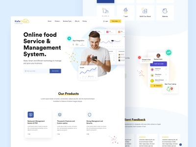 Online Food Managment portfolio startup landing page saas creative corporate food app food delivery food management food marketing agency business