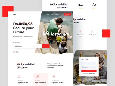 Insurance minimal startup landing page health insurance car insurance life insurance insurance marketing creative corporate agency business