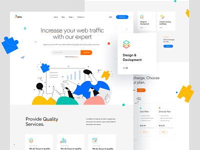 Digital Marketing social media marketing agency illustration creative landing page startup marketing corporate agency business