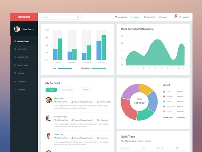 Client investment site Dashbaord social flat design chart profile dashboard user-experience user-interface stocks investment