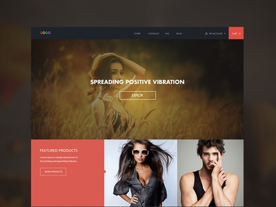 eCommerce Home page web-page ecommerce ui ux user-interface user-experience flat-design red yellow green fashion model