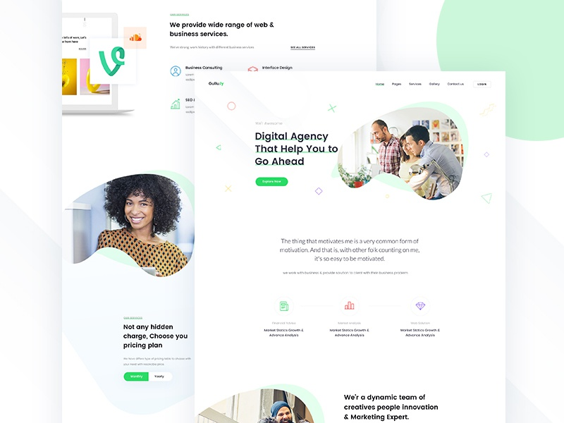 Rebound of Agency Landing Page shape colour flat business startup agency corporate trend green web