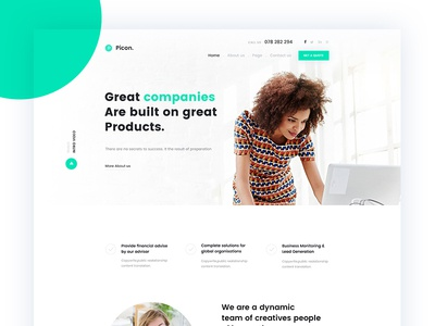 Picon Business & Corporate Landing Page minimal web green trend corporate agency startup business flat colour shape