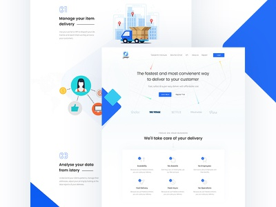 Landing Page for Product Delivery Company corporate. minimal trend driver freelancer freelance landing page deliver
