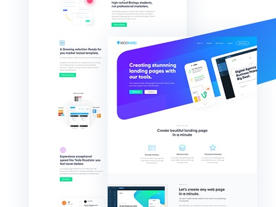 Landing Page for WebPage Builder application lading page mobile app marketing strip landing business page builder agency