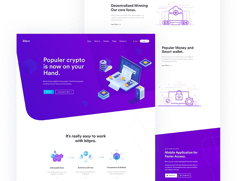 Crypto Landing Page Exploration! ico landing agency bitcoin business crypto cryptocurrency forex marketing dark trade wallet ico