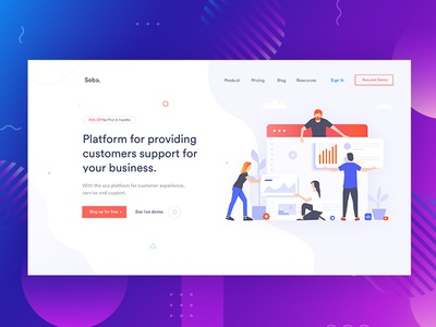Banner Exploration for Customer Support and Experience. customer experience support customer marketing clean minimal corporate colour startup illustration agency business