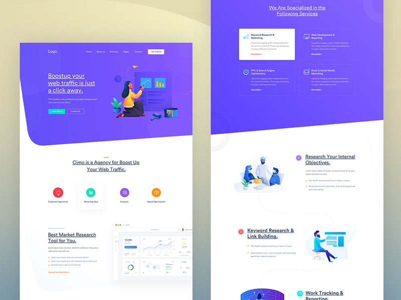 SEO Agency Landing Page, search engine optimization seo creative design illustration marketing trend corporate startup agency minimal business