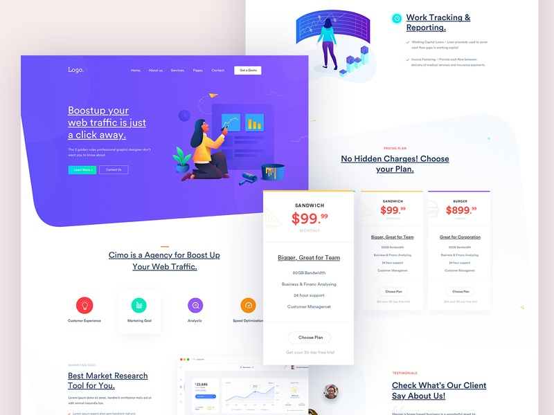 Landing Page for Marketing Agency seo minimal illustration marketing startup creative design corporate trend agency business