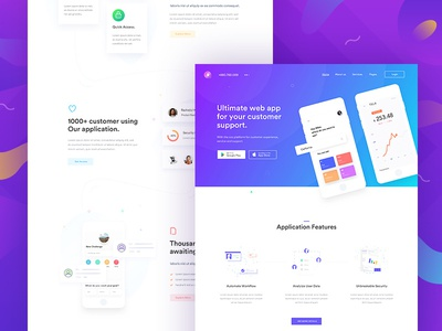 Application Landing Page. marketing agency startup creative corporate business web application app landing page