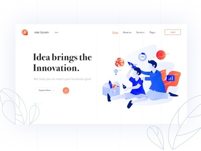 Hero Exploration clean ui portfolio startup agency illustration marketing creative corporate minimal business